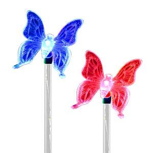 2 pcs LED Solar Color-Changing Butterfly Garden Stake Light Outdoor Decoration Light
