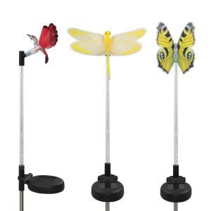 3 pcs LED Solar Light Color-changing Dragonfly Butterfly Hummingbird Garden Stake Light Outdoor Decoration Light