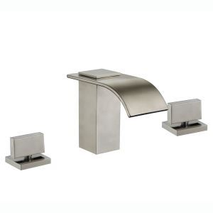 Modern Simple Style Brushed Finish Bathtub Faucet Hot and Cold Switch Three Holes