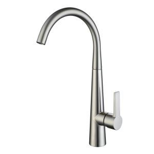 Modern Simple Style Brushed Finish Kitchen Faucet Hot and Cold Switch Single Hole Single Handle