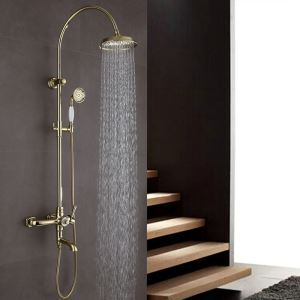 Modern Shower Faucet Simple Style Ti-PVD Bathroom Shower Faucet Hot and Cold Switch Three Holes Single Handle