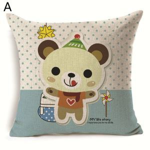 Cute Bear Theme Pillow Sofa Pillowcase 6 Options