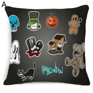 Cute Comics Halloween Character Theme Pillow Decorative Halloween Pillowcase 4 Options
