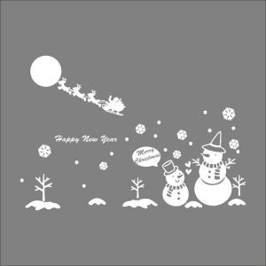 Christmas Snowman  Bedroom Living Room Hallway Children Room PVC Wall Stickers