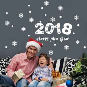 2018 Happy New Year Bedroom Living Room Hallway Children Room PVC Wall Sticker