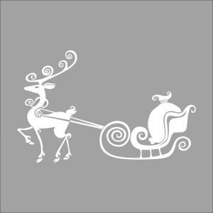 Christmas Deer Sleigh  Bedroom Living Room Hallway Children Room PVC Wall Stickers