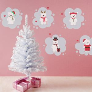 Christmas Theme Cartoon Bear Bedroom Living Room Hallway Children Room PVC Wall Stickers