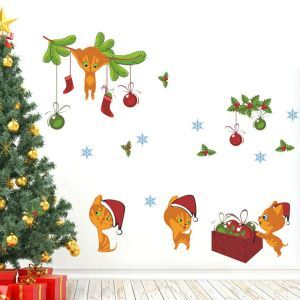 Christmas Theme Kitty Pattern Bedroom Living Room Hallway Children Room PVC Wall Stickers
