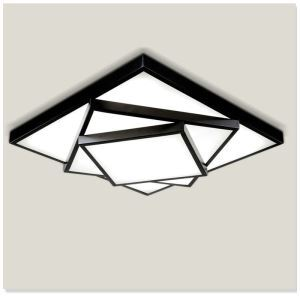 American Rural Style Living Room Dining Room Bedroom Geometric Shape LED Flush Mount Black and White