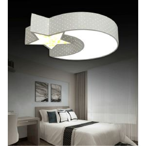 Modern Simple Style Living Room Dining Room Bedroom Moon and Star LED Flush Mount Black and White