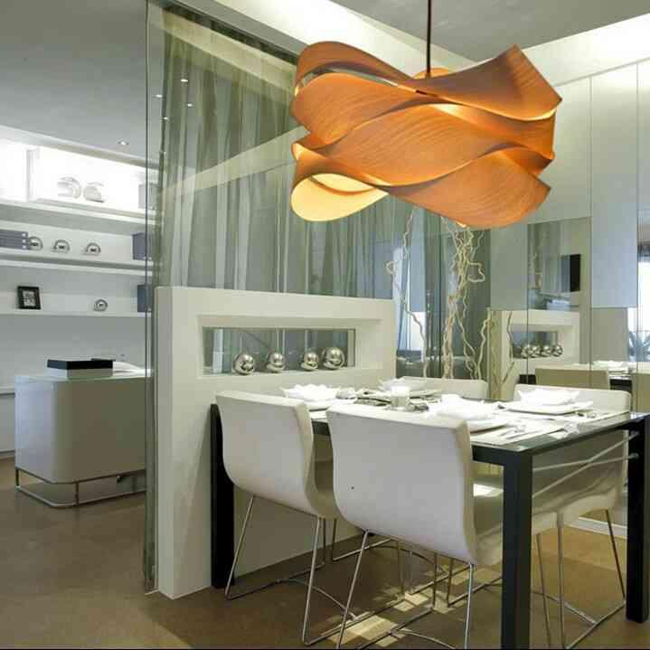 rustic style natural veneer wavy shape pendant light 1 light. Black Bedroom Furniture Sets. Home Design Ideas