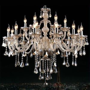 (EU Stock)Ceiling Lights Chandelier Crystal Cognac Color Luxury Modern 2 Tiers Living 15 Lights(Dance Of Romance)