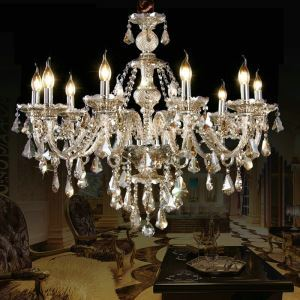 (EU Stock)Ceiling Lights Chandelier Crystal Cognac Color Luxury Modern 10 Lights Living Room Bedroom Dining Room Lighting Ideas(Dance Of Romance)