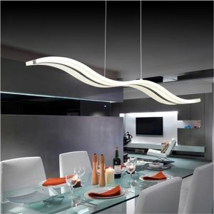 LED Pendant Light Dining Room Rectangular Wave LED Chandelier