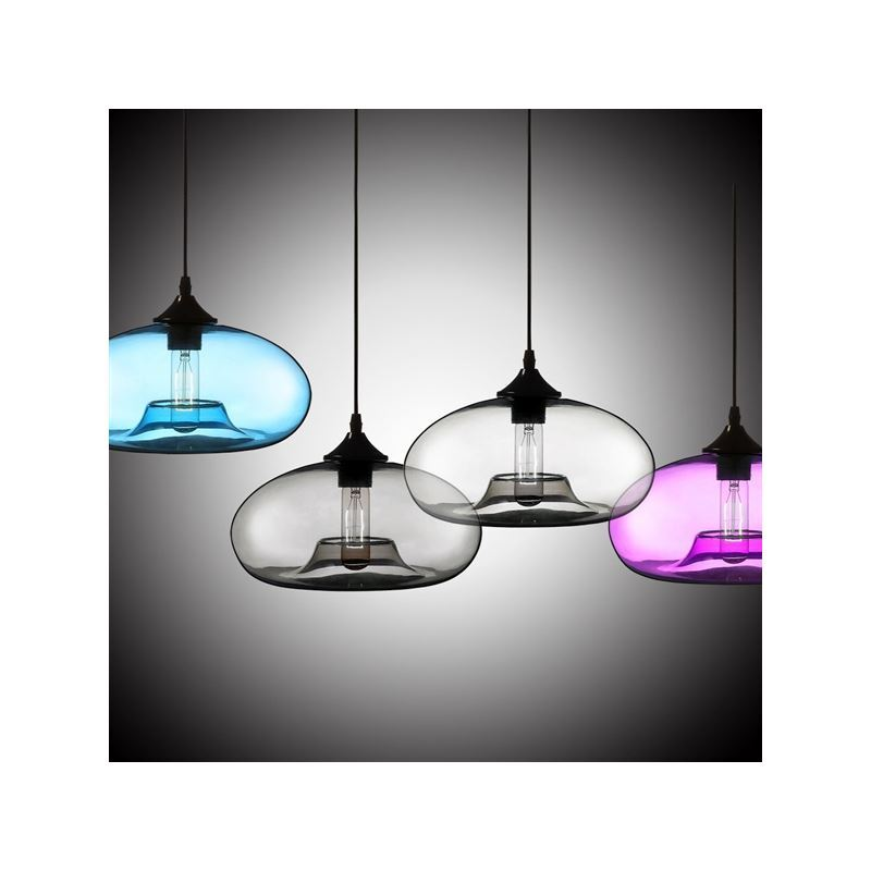 UK Stock Modern Glass Pendant Light Hand Blown Colorful Bell Shaded With 1