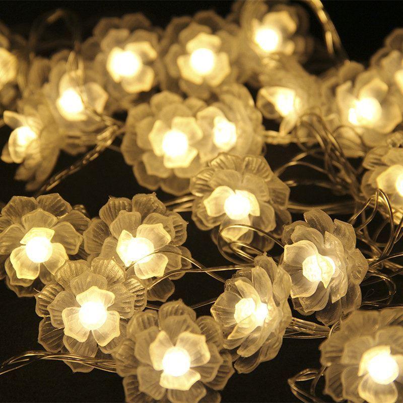 Camellia Pendant Lights Indoor Battery LED String Lights