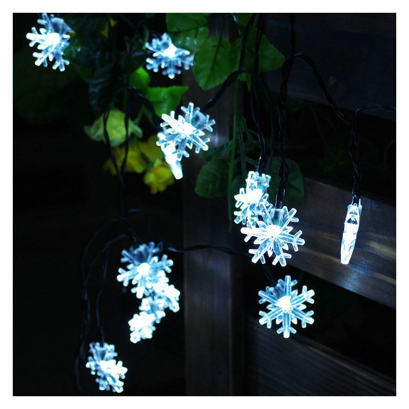 Solar Outdoor String Lights Canada: Snowflake Modeling Outdoor Waterproof Solar LED String Lights