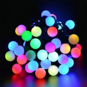Small White Ball Outdoor Waterproof Solar LED String Lights