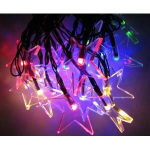 Transparent Pentagram Outdoor Waterproof Solar LED String Lights