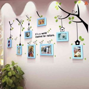 Pastoral Home Decor Solid Wood Photo Wall Photo Frame 8 pcs/set