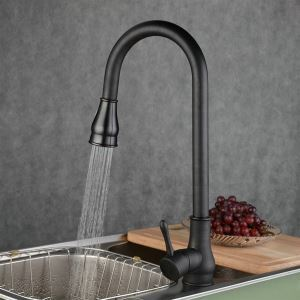 (EU Stock)Kitchen Faucet Antique Pullout Spray Brass Oil-rubbed Bronze