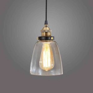 (EU Stock)American Rural Industrial Retro Style Iron Craft Bell-shaped Glass Pendant Light Clear Glass Shade