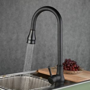 (In Stock)Kitchen Faucet Antique Pullout Spray Brass Oil-rubbed Bronze