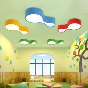 Nordic Simple Style Flush Mount Geometry Shape Children Bedroom Hallway Light 4 Colors Available  Cool White