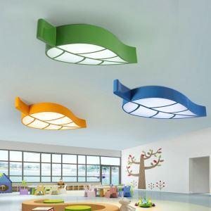 Nordic Simple Style Flush Mount Leaf Shape Children Bedroom Hallway Light 4 Colors Available Cool White