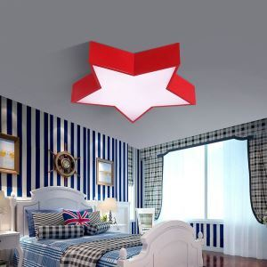 Nordic Simple Style Flush Mount Star shape Children Bedroom Hallway Light 3 Colors Available Cool White