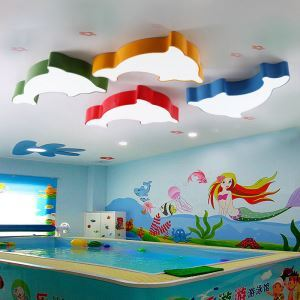 Nordic Simple Style Flush Mount Dolphin Children Bedroom Hallway Light 5 Colors Available Cool White
