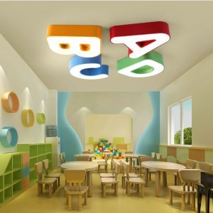 Nordic Simple Style Flush Mount ABCD Letter Children Bedroom Hallway Light 4 Options Cool White