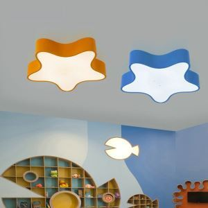 Nordic Simple Style Flush Mount Starfish Shape Children Bedroom Hallway Light 3 Colors Available Cool White