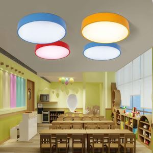 Nordic Simple Style Flush Mount Round Children Bedroom Hallway Light 3 Colors Available Cool White