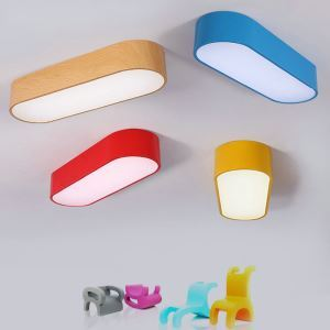 Nordic Simple Style Flush Mount Oval Children Bedroom Hallway Light 4 Colors Available Cool White