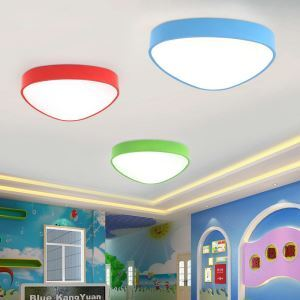 Nordic Simple Style Flush Mount Triangle Children Bedroom Hallway Light 5 Colors Available Cool White