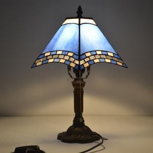 Bedside Table LAMP with One-light in Blue Stained Glass Tiffany Style