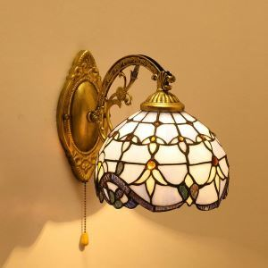 Tiffany Wall Light Blue Baroque Stained Glass Tiffany One-light Wall Sconce with Pull Chain