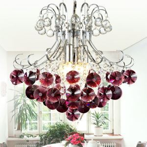 Wine Red Chandelier in Crystal Ball Feature