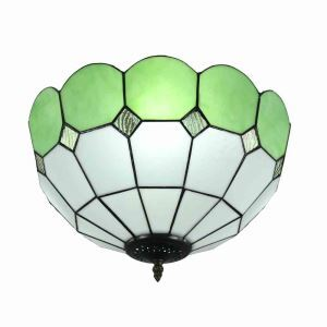 16inch European Pastoral Retro Style Flush Mounts Mesh Pattern Green Edge Shade Bedroom Living Room Dining Room Lights