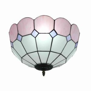 16inch European Pastoral Retro Style Flush Mounts Mesh Pattern Pink Edge Shade Bedroom Living Room Dining Room Lights