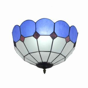 16inch European Pastoral Retro Style Flush Mounts Mesh Pattern Blue Edge Shade Bedroom Living Room Dining Room Lights