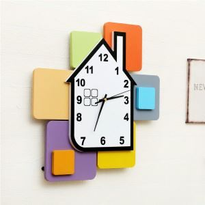 Modern Simple Style Building Blocks House Creative Clock Children Room Living Room Wall Clock