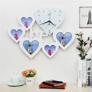 Modern Simple Style Heart LOVE Creative Clock Children Room Living Room Photo Frame Wall Clock Black White 2 Options