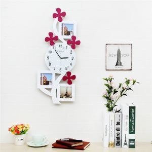 Modern Simple Style Flower Art Creative Clock Children Room Living Room Photo Frame Wall Clock Black White 2 Options
