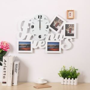Modern Simple Style Friends Creative Clock Children Room Living Room Photo Frame Wall Clock Black White 2 Options
