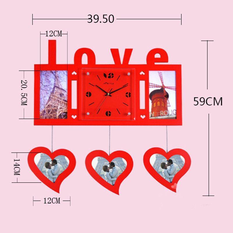 Modern Simple Style Love Heart Creative Clock Children Room Living ...