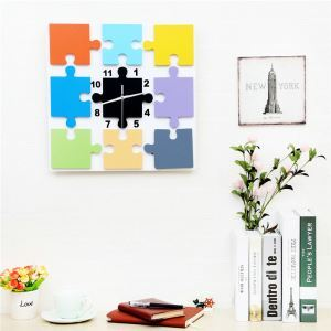 Modern Simple Style Square Puzzle Creative Clock Children Room Living Room Wall Clock Black White 2 Options