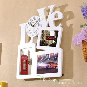Modern Simple Style LOVE Creative Clock Children Room Living Room Photo Frame Wall Clock
