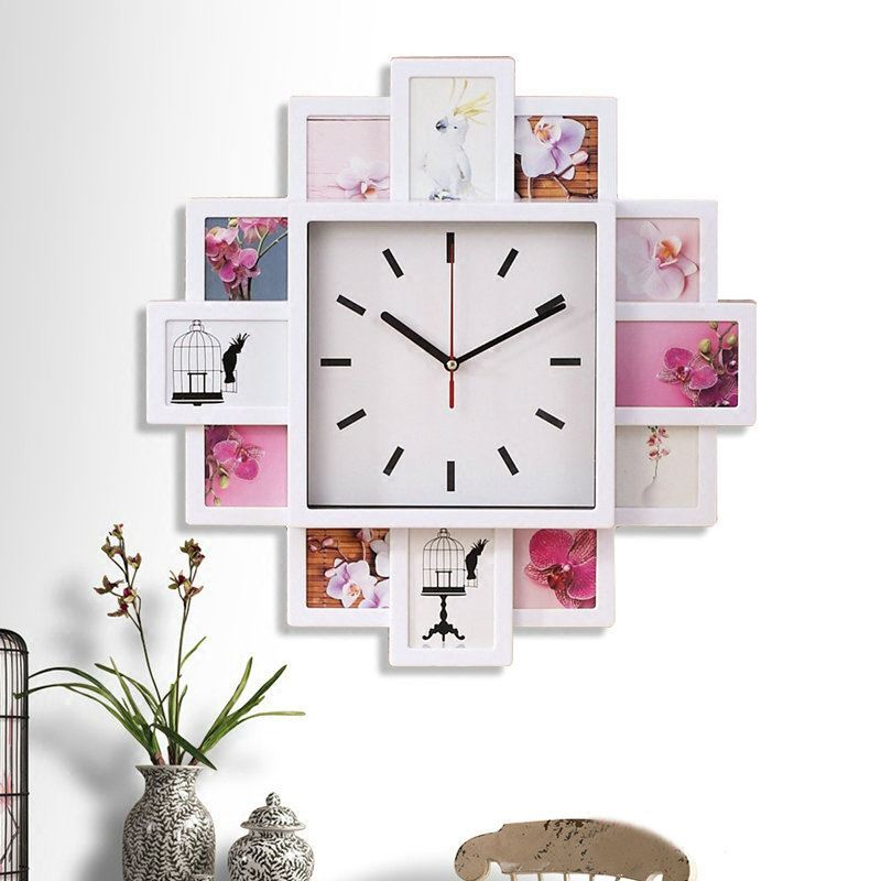 Modern Simple Style Creative Clock Children Room Living Photo Frame Wall Black White Silver